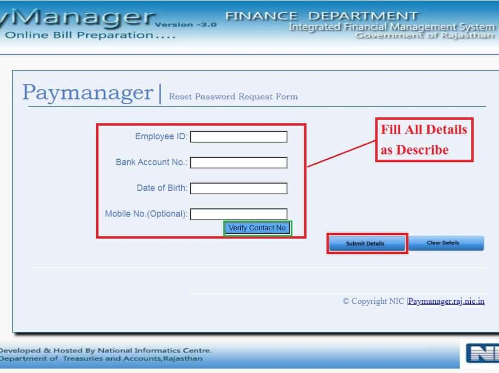 Paymanager Password Reset